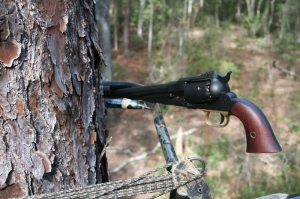The new nitride- finished revolver stuck into a tree stand ready to hunt.