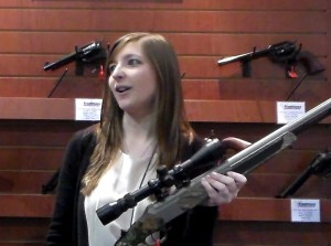 Alison Hall describing the new Vortek Strikefire with Frontier cartridge revolvers in the background.