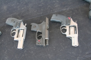 Chrimson Trace laser sights on small handguns.