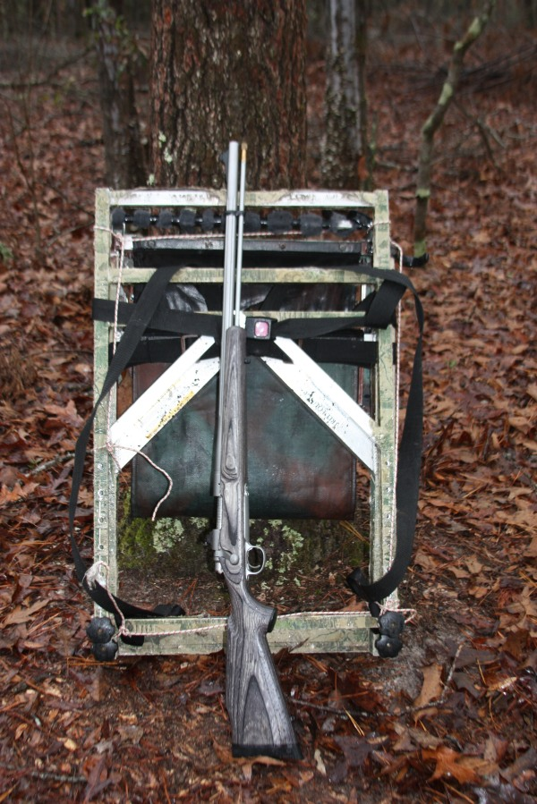 The final day of Georgia's deer season did not offer an opportunity for the Remington Ultimate Muzzleloader, and here it is shown with my deer stand prior to being relocated to another location for a late-evening set-up. The only deer it experienced was one that blew at us in the dark on our walk out.